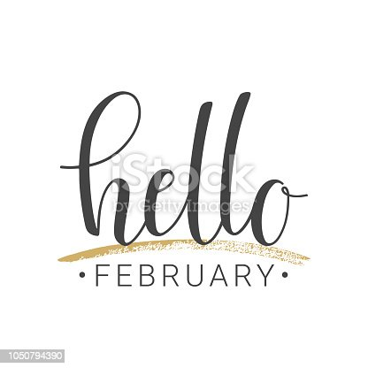 istock Handwritten lettering of Hello February on white background 1050794390