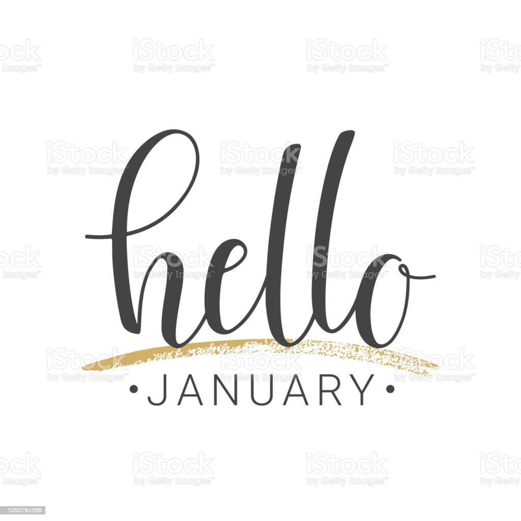 Handskrivna bokstäver Hej januari på vit bakgrund - Royaltyfri Affisch vektorgrafik