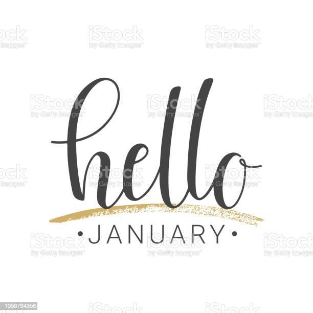 Handskrivna Bokstäver Hej Januari På Vit Bakgrund-vektorgrafik och fler bilder på Affisch