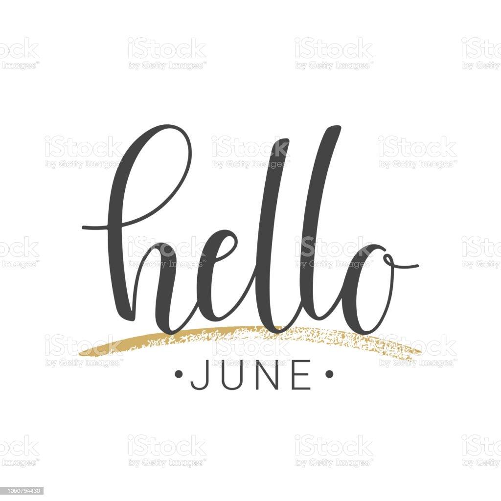Manuscritos de Letras de Hello junio sobre fondo blanco - ilustración de arte vectorial