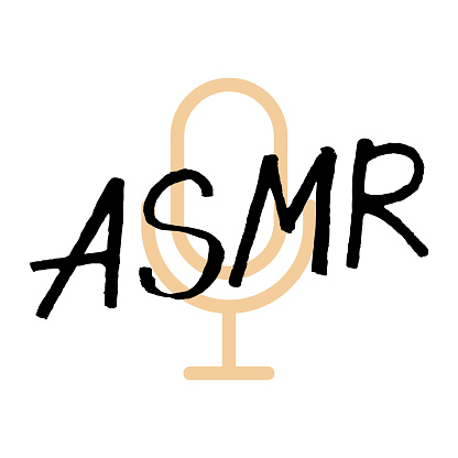 ASMR handwritten lettering on white background with microphone. Podcasting, broadcasting, online radio, interview. Podcast channel logo. Design for posters, T-shirts, banners, print invitations.