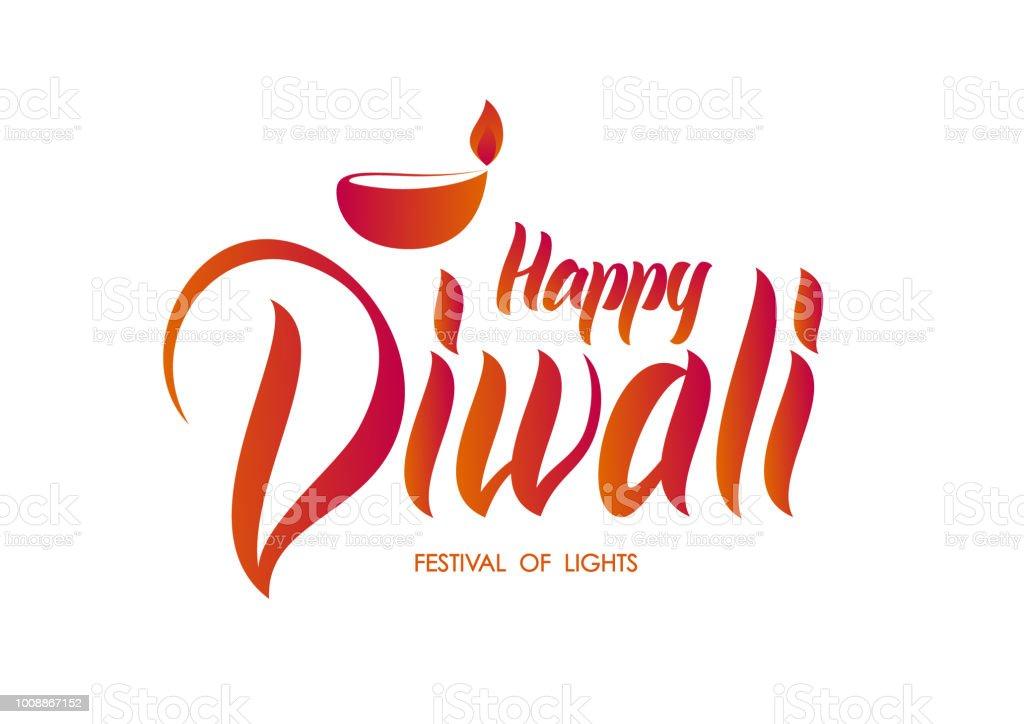Handwritten Lettering Type Composition Of Happy Diwali In