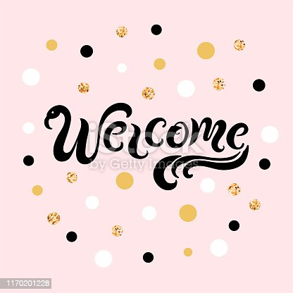 Handwritten lettering Welcome like flamingo isolated on pink background. Vector illustration for party invitation, banner, poster, birthday, web, baby shower.