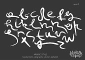 Handwritten  lowercase white letters in Arabic style on black background.