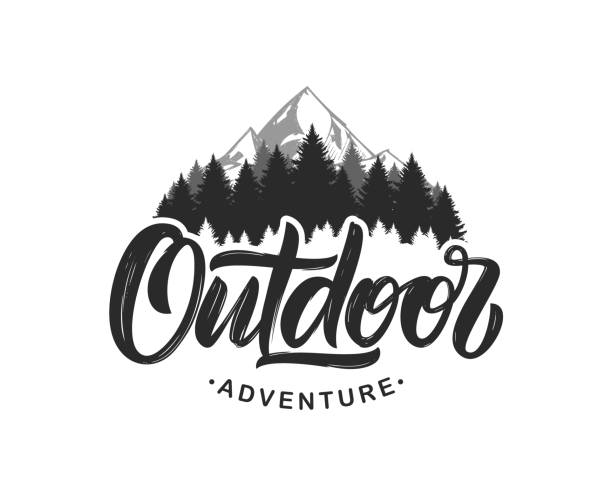handwritten modern brush lettering composition of outdoor adventure with silhouette of pine forest and mountains. - outdoors stock illustrations