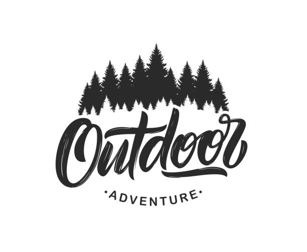 Handwritten Modern brush lettering composition of Outdoor adventure with silhouette of pine forest on white background. Vector illustration: Handwritten Modern brush lettering composition of Outdoor adventure with silhouette of pine forest on white background. woodland stock illustrations