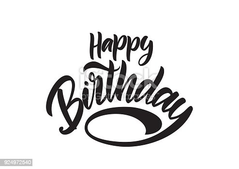 Handwritten Modern Brush Type Lettering Of Happy Birthday On White Background Typography Design Greeting Card Stock Vector Art More Images Abstract