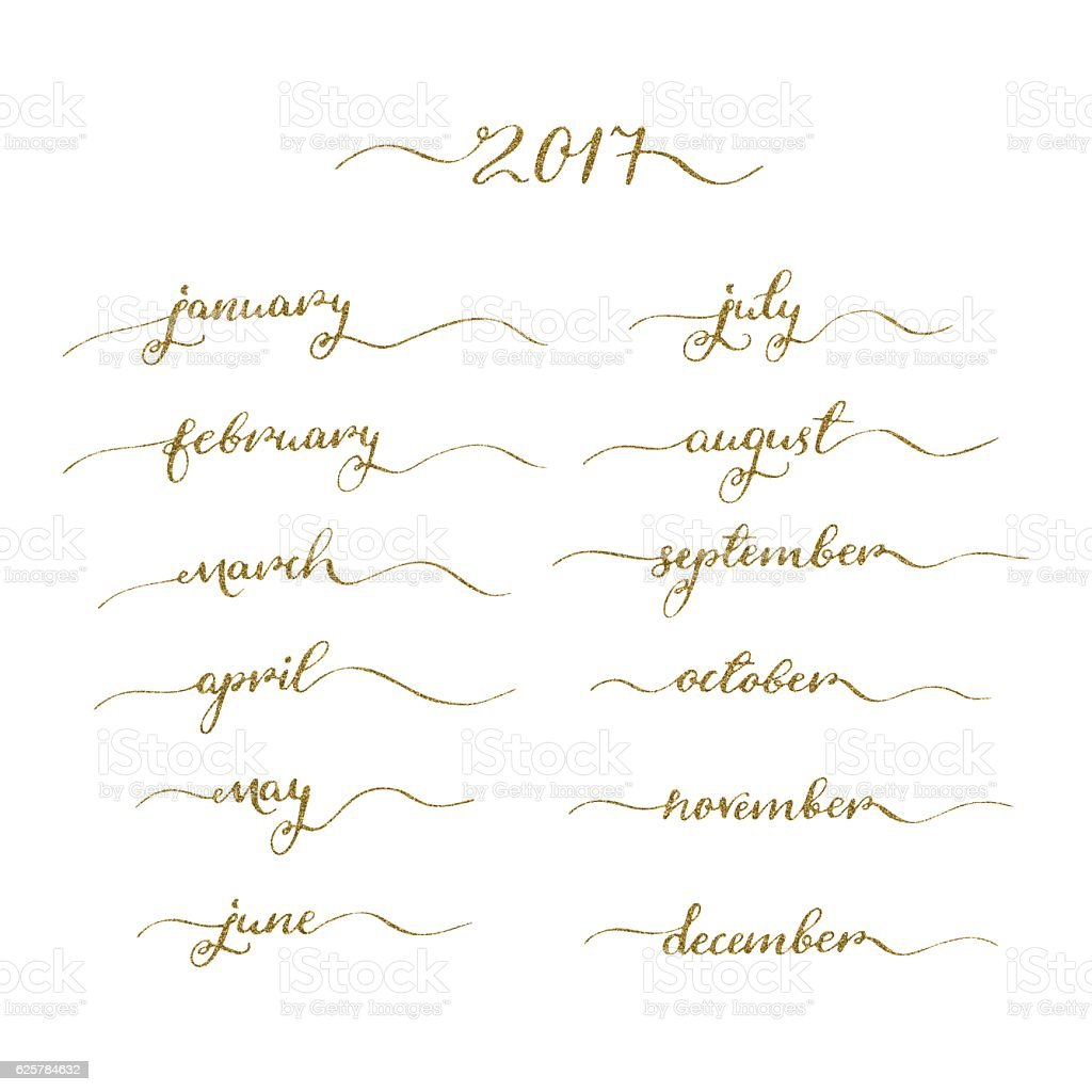 Handwritten months set vector art illustration