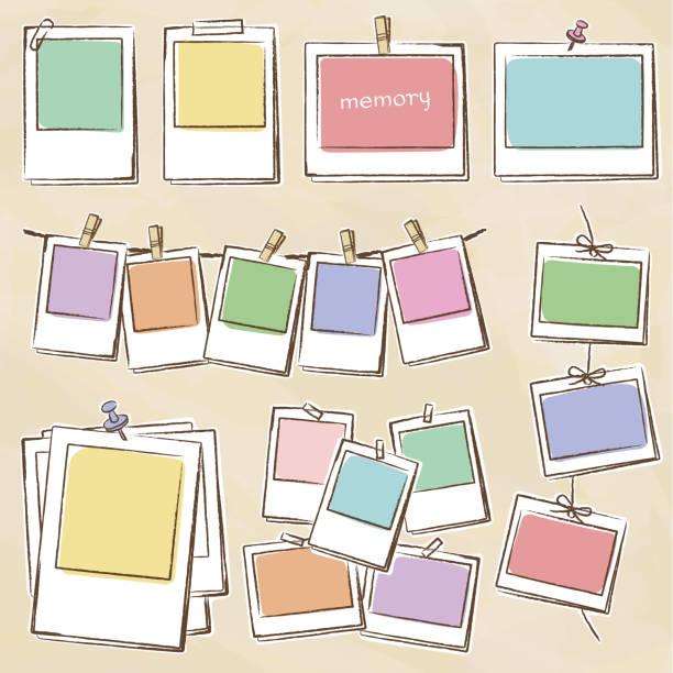 handwritten photo frame set - spinacz artykuł biurowy stock illustrations
