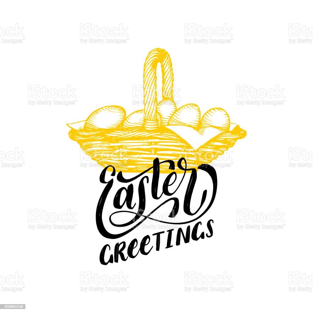 Handwritten Phrase Easter Greetings In Vectordrawn Illustration Of