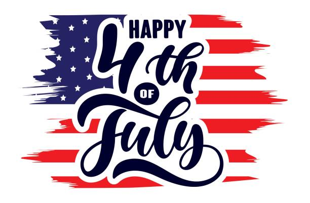 Handwritten phrase Happy 4th of July Independence day USA  with American flag and stars isolated on white background. Celebration lettering illustration. Vector illustration. vector art illustration