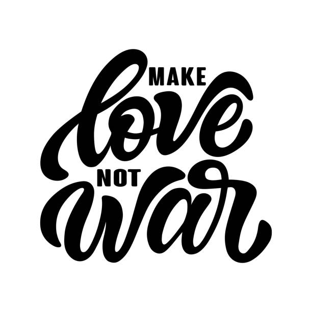 Handwritten phrase Make love not war text for clothes. Positive quote isolated on the white background. Lucky for print, postcard or poster. Vector illustration. vector art illustration