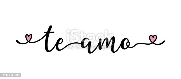 istock Handwritten quote Te Amo as banner in Spanish. Translated Love You. Lettering for header, label, advertising, label, flyer 1263041049