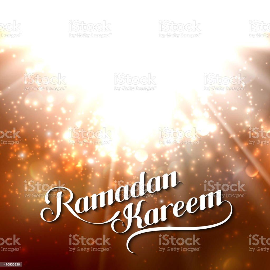 handwritten Ramadan Kareem retro label on shiny background vector art illustration