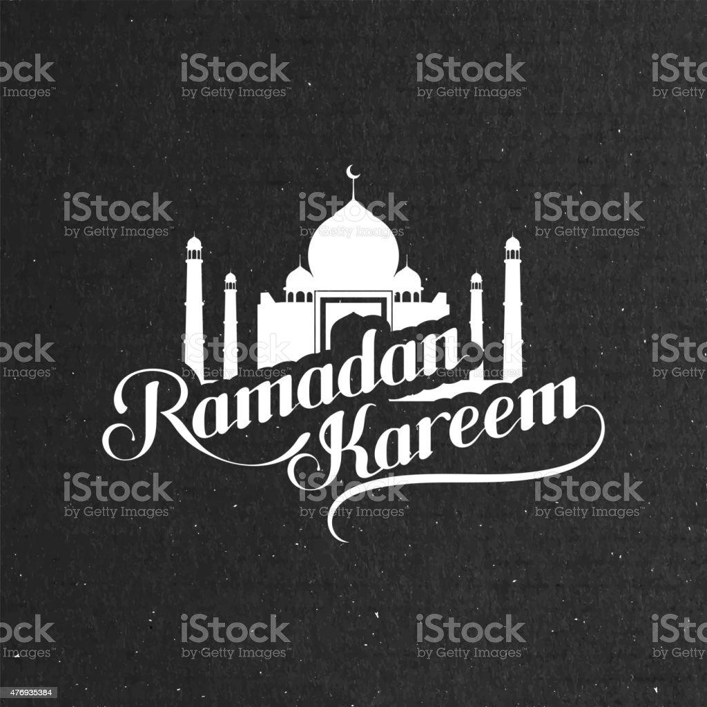 handwritten Ramadan Kareem retro label vector art illustration