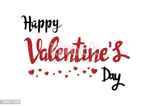 istock Handwritten romantic greeting card with text happy valentine Day. February 14. minimal concept. Vector Illustration 909374338