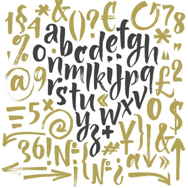 stockillustraties, clipart, cartoons en iconen met handgeschreven script lettertype. borstel lettertype. - borden en symbolen