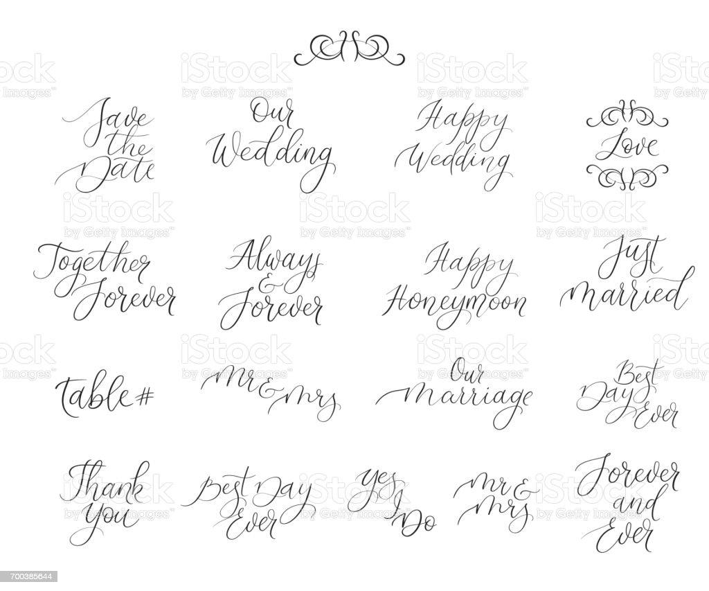 カード写真オーバーレイ デザイン結婚式招待状の手書きのセット書道