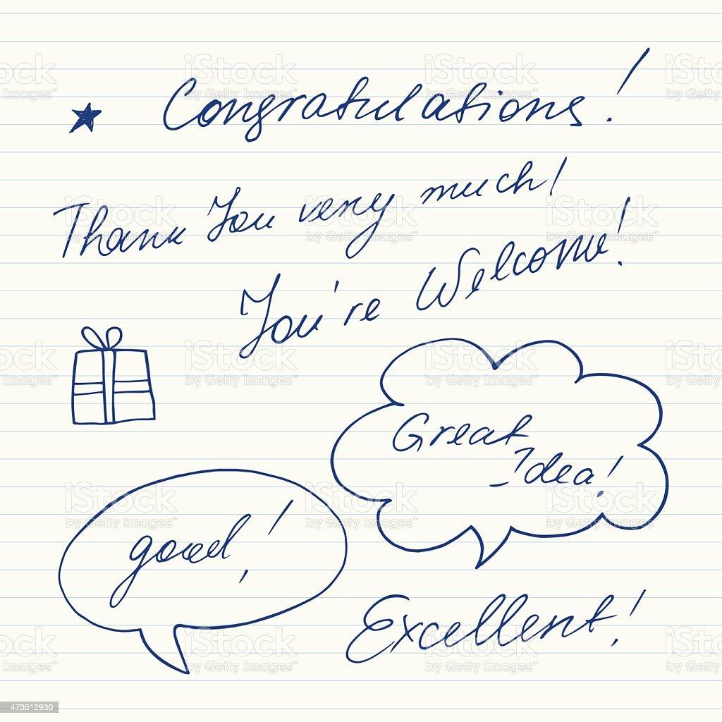 Vetores De Por Escrito Frases Curtas Parabéns Agradecemos