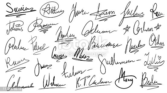 Handwritten signature. Manual signatures, manuscript sign for documents and hand drawn autograph lettering. Unique text on official document paper, ink surname isolated vector symbols set