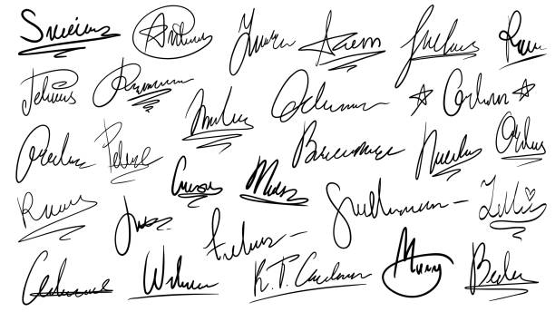 Handwritten signature. Manual signatures, manuscript sign for documents and hand drawn autograph lettering isolated vector set Handwritten signature. Manual signatures, manuscript sign for documents and hand drawn autograph lettering. Unique text on official document paper, ink surname isolated vector symbols set signature collection stock illustrations
