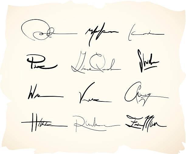 handschriftliche unterschrift gültig - unterschrift stock-grafiken, -clipart, -cartoons und -symbole