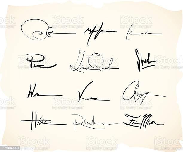 Hand drawn and handwritten fake signatures.
