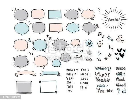 Handwritten speech bubble and word set.