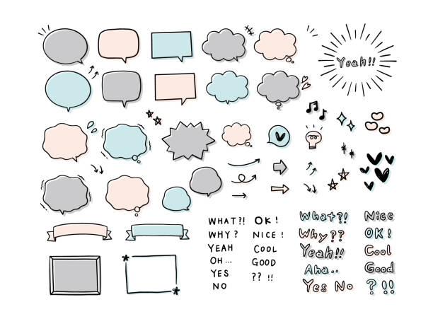 Handwritten speech bubble and word set. Handwritten speech bubble and word set. cute stock illustrations