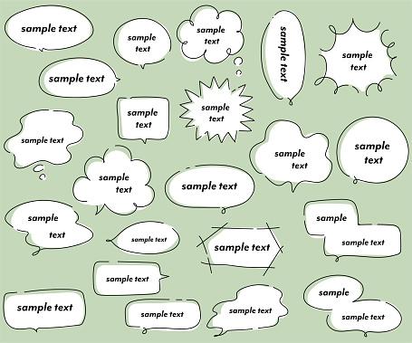Handwritten style speech bubble illustration set.