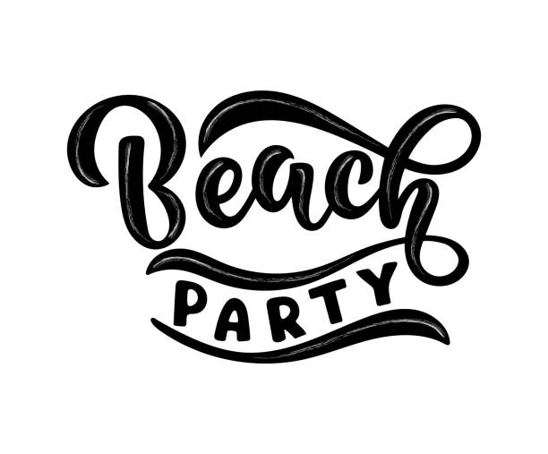 Handwritten text Beach party vector banner design. Warm season lettering typography for postcard, card, invitation. Calligraphy greeting card. Logo, badge, icon, banner, poster, sticker. vector art illustration
