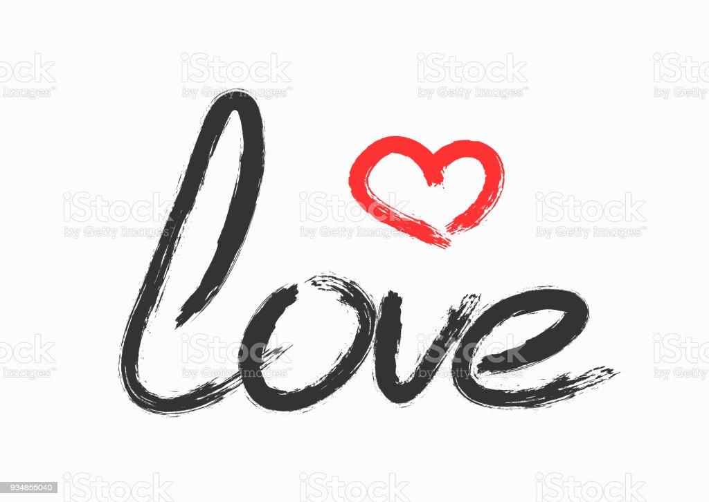 Vetores De Amor De Texto Manuscrito E Contorno Do Coracao Letras