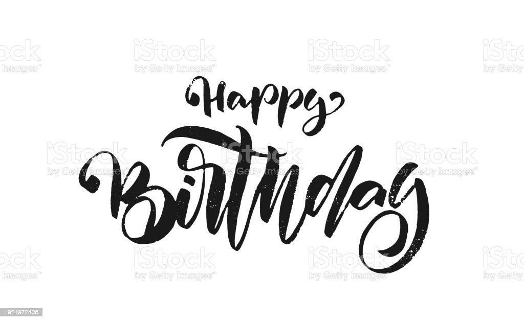 Happy Birthday Design Vector ~ Handwritten textured brush type lettering of happy birthday on white