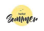 Handwritten type lettering of Hello Summer on hand drawn brush textured sun