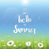Handwritten typography 'Say hello to summer'. Floral background with chamomiles.