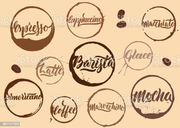 Handwritten vector brown calligraphic coffee names in rings of stains vector id882107026?b=1&k=6&m=882107026&s=612x612&h=s0uuzucwq5fydvl m xxuccvkipxrloknymggtjtwaw=