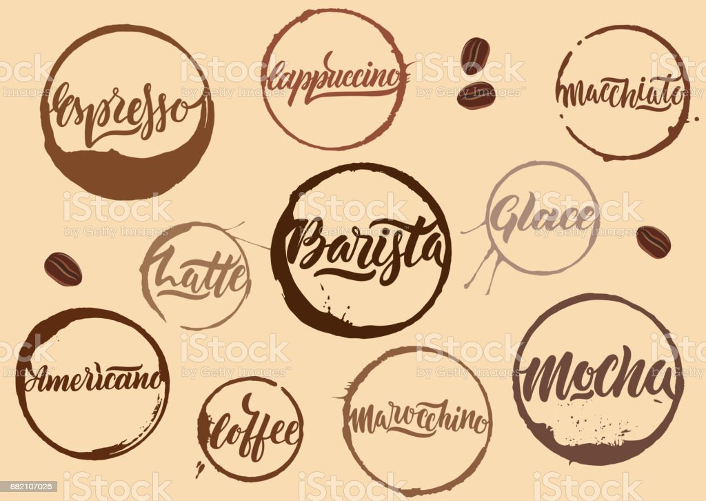Handwritten vector brown calligraphic coffee names in rings of stains on beige background. vector art illustration