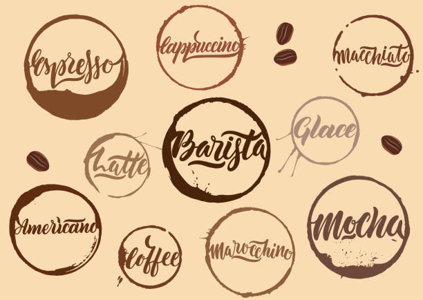 handwritten vector brown calligraphic coffee names in rings of stains on beige background. - barista stock illustrations, clip art, cartoons, & icons