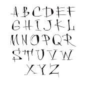 Handwritten vector calligraphic black alphabet on white background.