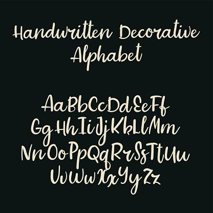 Handwritten Vector Font Modern Calligraphy Aphabet Lowercase