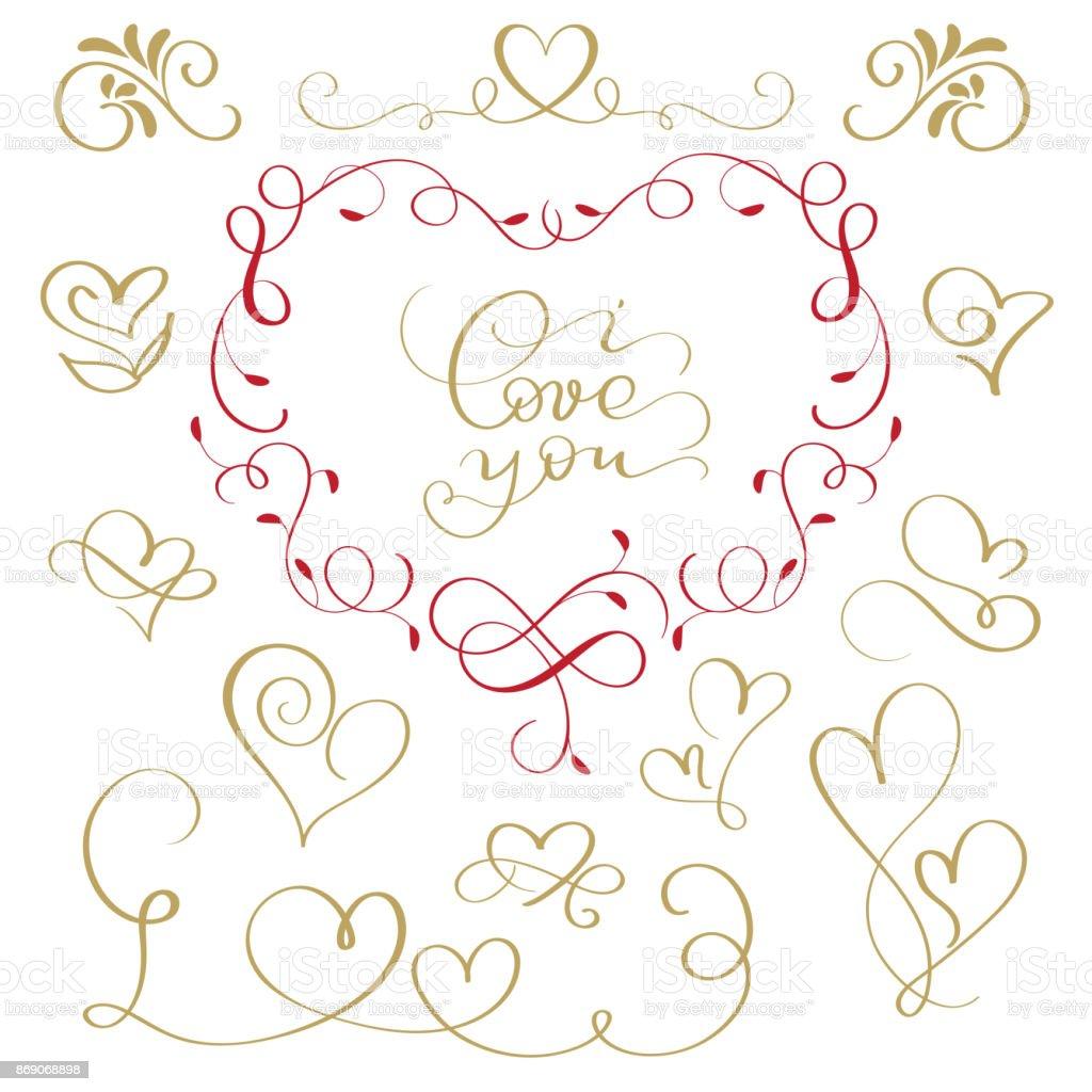 illustration vectorielle manuscrite s'épanouir texte calligraphique inscription je t'aime et un ensemble d'icônes de coeurs - Illustration vectorielle