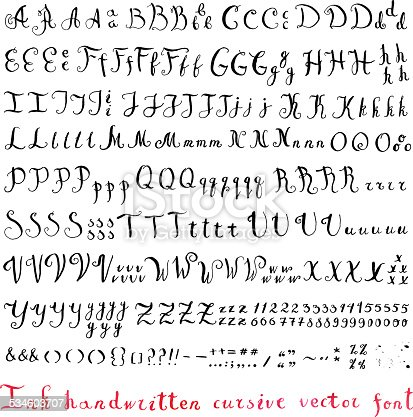 Handwritten vintage ink cursive vector alphabet (font) with different variants of writing the same letters, numbers and punctuation marks