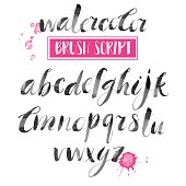 Handwritten watercolor calligraphic font. Modern brush lettering