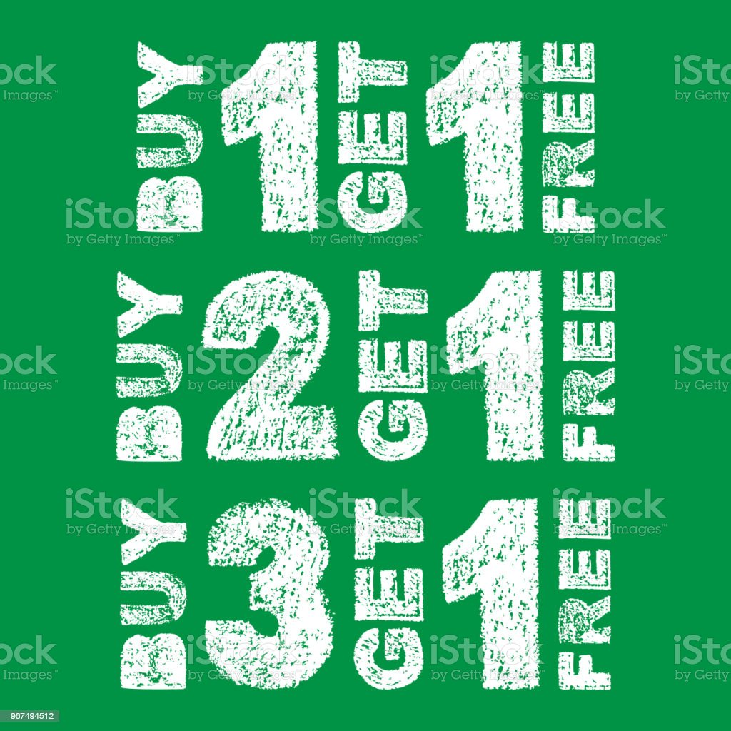 handwritten white bold chalk lettering buy 3 get 1 free buy 2 get 1 free