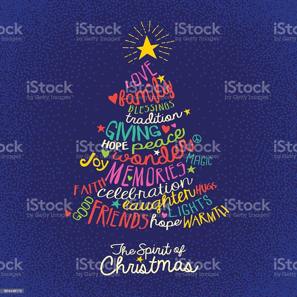 handwritten word cloud Christmas tree greeting card design vector art illustration