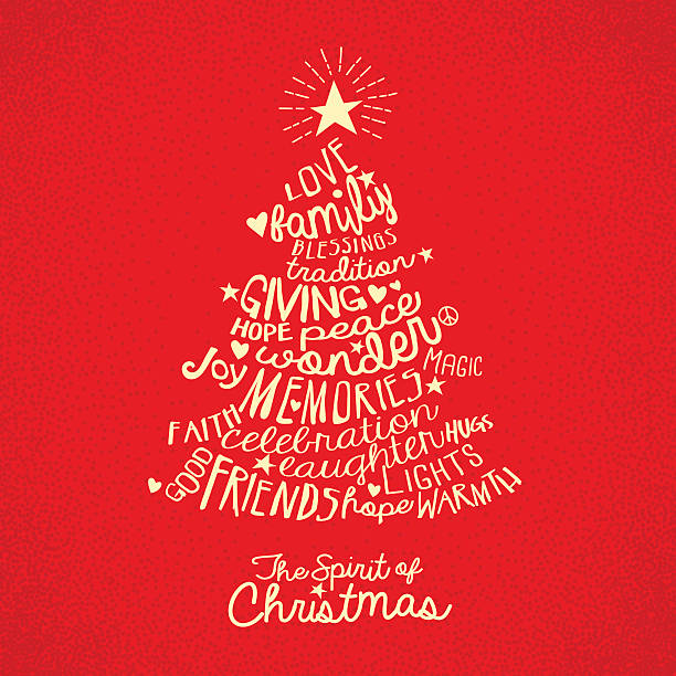handwritten word cloud christmas tree greeting card design - 鄉愁 幅插畫檔、美工圖案、卡通及圖標