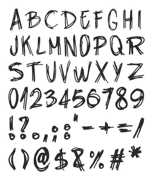 handwritting verzerrt schriftarten - punk stock-grafiken, -clipart, -cartoons und -symbole