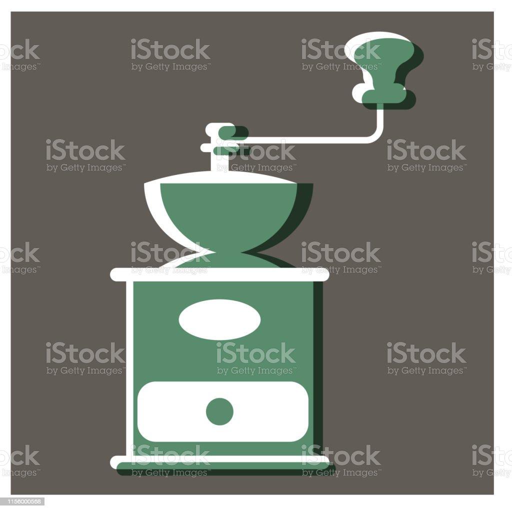 Handy Coffee Mill Flat Illustration Design Stock