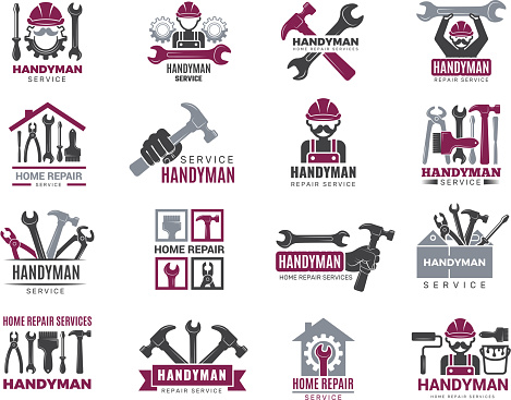 Handyman badges. Builders and workers contractor symbols technicians vector logotypes for handyman