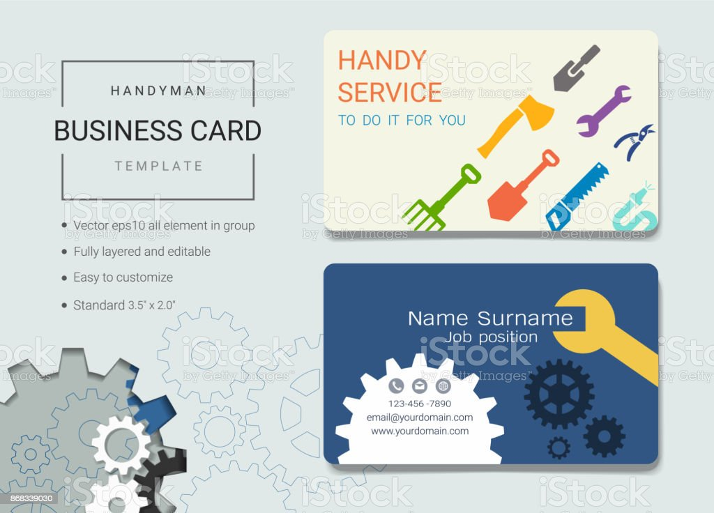 Handyman business card or name card template simple style also handyman business card or name card template simple style also modern and elegant with handy accmission Gallery